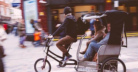 Pedal rickshaw, Covent Garden, London, UK