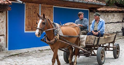 Locals riding horse cart, Koprivshtitsa, Bulgaria