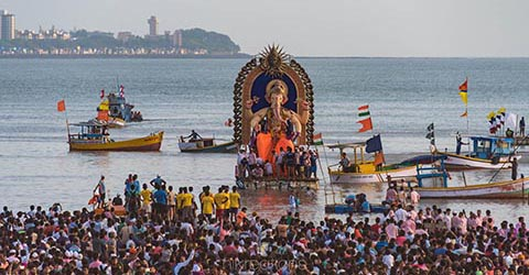 Ganesh Festival immersion day, Mumbai, India